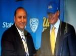 UCLA A.D. Dan Guerrero introduces Jim L. Mora to the media. courtesy: UCLA