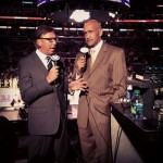 Bill Macdonald (left) teams up with Stu Lantz (right) on Time-Warner Cable Lakers telecasts. courtesy: Lakers