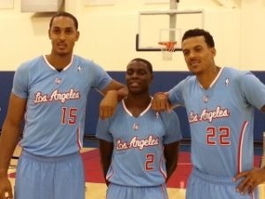 (L to R) Ryan Hollins Darren Collison and Matt Barnes are the UCLA Bruins on the L.A. Clippers roster.
