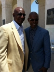 Former L.A. Rams running back Eric Dickerson (rt) and former Bears running back Gale Sayers (lt) at the Deacon Jones Memorial Service at the L.A. Coliseum last Summer.