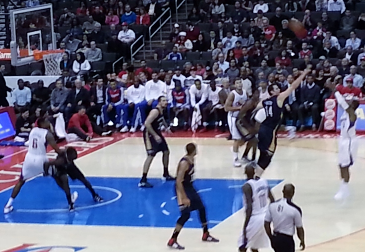 Clippers center DeAndre Jordan (#6 far left) fights for rebounding position during Wednesday's 108-95 Clippers win over the New Orleans Pelicans.