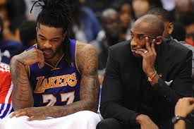 Jordan Hill and injured Kobe Bryant can't watch as the Lakers lose to the Clippers by 36 points. Thanx: insidesocalsports.com