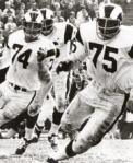 The late Merlin Olsen (74) and late Deacon Jones (75) are part of the Rams 49-year heritage in Los Angeles. thanx: AP