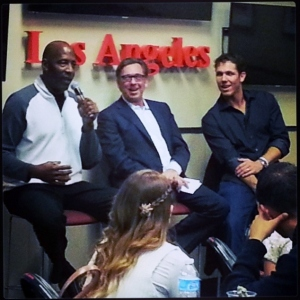 Lakers legend James Worthy (left) TV voice Bill Macdonald (center) and ex-Laker Luke Walton (right) field questions from fans at Lakers All-Access Tuesday night at Staples Center.