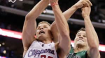 Clippers' Blake Griffin battles for a rebound with the Celtics Kris Humphries. Thanx: nbcsports.com