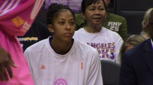 Sparks leader Candace Parker is on the bench with a left knee strain against the Indiana Fever tonight at Staples Center.