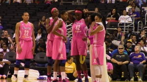 The L.A. Sparks wore pink uniforms in Monday's 77-73 win over Indiana at Staples Center for Breast Cancer Awareness Night.