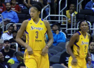 Candace Parker (3) led the Sparks with 24 points, seven rebounds and six assists in L.A.'s 77-65 win over Seattle Friday at Staples Center.