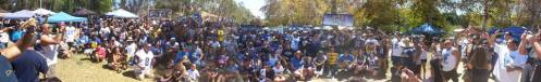 Panoramic view of some of the 2,500 Rams fans who attended Saturday's annual So. Cal. Booster Club Picninc.
