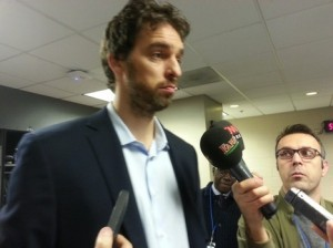 Ex-Laker and Bulls center speaks to the media prior to Monday's game at Staples Center against the Clippers. Gasol was a late scratch due to a strained calf.