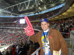Tom Bateman, president of Bring Back the Los Angeles Rams, traveled to London in 2012 to watch the St. Louis Rams play the New England Patriots. courtesy: Tom Bateman
