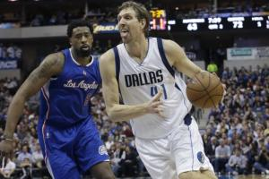 Clippers DeAndre Jordan (left) was snubbed for the West All-Star Team in favor of Dallas' Dirk Nowitzki (right). courtesy: LM Otero/AP