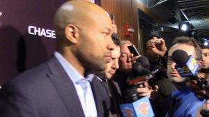 Knicks head coach Derek Fisher meets the L.A. media upon his return to face the Lakers.